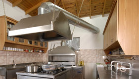 Modern kitchen in restaurant` stock images