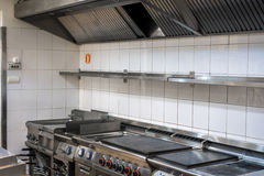Modern kitchen in the restaurant. With stainless equipment royalty free stock images