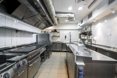 Modern kitchen in the restaurant. With stainless equipment stock photo