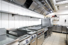 Modern kitchen in the restaurant. With stainless equipment Stock Photography