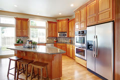 Modern kitchen room with island Royalty Free Stock Photo