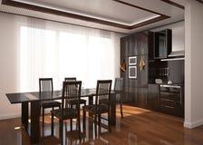 Modern kitchen room render Stock Image