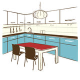 Modern kitchen room.Vector color sketchy illustration on white Royalty Free Stock Image
