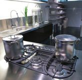 Modern kitchen with saucepan Stock Photos