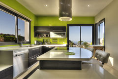 Modern kitchen with sea view Royalty Free Stock Photography