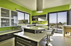 Modern kitchen with sea view Stock Photo
