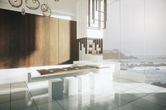 Modern kitchen with seashore view Stock Photography