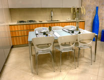 Modern kitchen in the showroom Stock Images