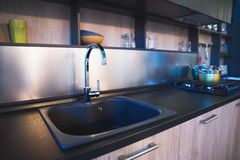 Modern kitchen sink, kitchen part. Royalty Free Stock Photography