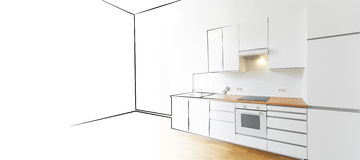 Modern kitchen sketch and photo - interior design concept Stock Photography