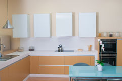 Modern kitchen spaces in modern house Royalty Free Stock Image