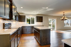Modern kitchen with stained cabinets. Royalty Free Stock Photos