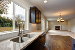 Modern kitchen with stained cabinets. Stock Image