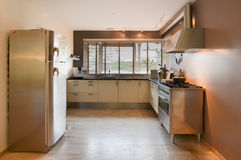 Modern kitchen with stainless elements stock photos