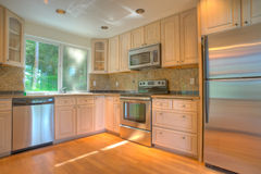 Modern kitchen with stainless steel appliances Royalty Free Stock Photography