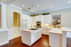 Modern kitchen. Stove on island Royalty Free Stock Images