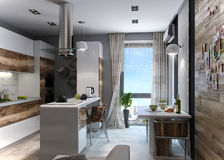 Modern kitchen study, 3d render. Open concept kitchen and living room arranging. Living spaces functional partitioning, welldefined through decoration accents Stock Image