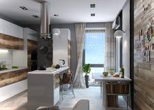 Modern kitchen study, 3d render Stock Image