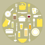 Modern kitchen stuff set elements in yellow, white and green colors. Stock Photo