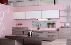 Modern kitchen with stylish furniture Royalty Free Stock Image