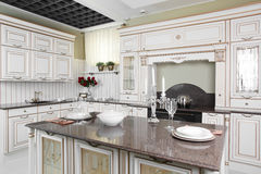 Modern kitchen with stylish furniture Stock Photos