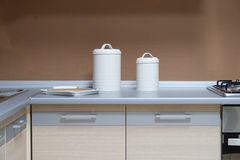 Modern kitchen table Royalty Free Stock Photos
