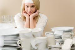 Modern kitchen - tired woman in kitchen Stock Photos