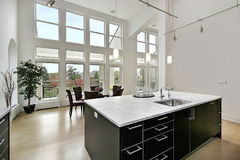 Modern kitchen with two story windows