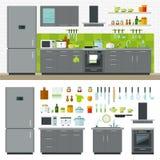 Modern Kitchen Utensils, Furniture, Interior. Concept of modern kitchen. Flat horizontal banners with kitchen utensils, electric cooker, refrigerator, kitchen Royalty Free Stock Images