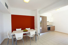 Modern kitchen. View of a modern kitchen and dining table Stock Images