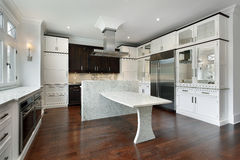 Modern kitchen with white cabinetry Royalty Free Stock Photography