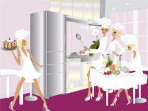 Modern Kitchen and Women Chef stock image