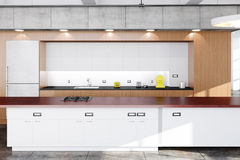 Modern kitchen. With wood, concrete and white boards Stock Photography