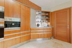 Modern kitchen in wood Stock Photos