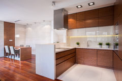 Modern kitchen in wood Royalty Free Stock Photo