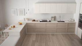 Modern kitchen with wooden details and parquet floor, minimalist. White interior design, top view vector illustration