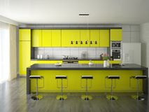 Modern kitchen yellow. Stock Images