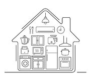 Modern kitchenware thin line icons. Kitchen interior with electronics and furniture illustration. Cooking appliances. Vector house outline drawing concept Stock Images