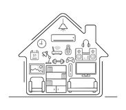 Modern kitchenware thin line icons. Kitchen interior with electronics and furniture illustration. Cooking appliances. Vector house outline drawing concept Stock Photography
