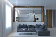 Modern kithcen Studio mit Wohnzimmergrausofa lizenzfreies stockfoto