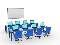 Modern klaslokaal met computers stock illustratie