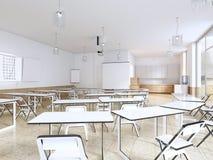 Modern klaslokaal met grote panoramische vensters en witte bureaus, helder binnenland royalty-vrije illustratie