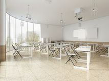 Modern klaslokaal met grote panoramische vensters en witte bureaus, helder binnenland stock illustratie