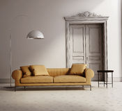 Modern klassisk vardagsrum, beige lädersoffa Arkivbilder