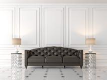 Modern klassisk vardagsrum med den svarta lädersoffan 3d framför Fotografering för Bildbyråer