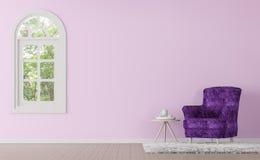 Modern klassisk vardagsrum med tolkningen för lila- och rosa färgfärg 3d avbildar Fotografering för Bildbyråer