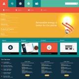 Modern Kleurrijk Vlak Websitemalplaatje EPS 10 Vectorillustratie Stock Afbeelding