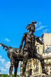 Modern knight statue in front of apartment house in Paris Stock Images