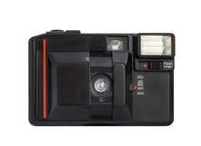 Modern kompakt parallell kamera på format för film som 35mm isoleras på en vit bakgrund Arkivbild