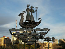 Modern konst skulptur som göras av metall, Sochi gränsmärke Fotografering för Bildbyråer